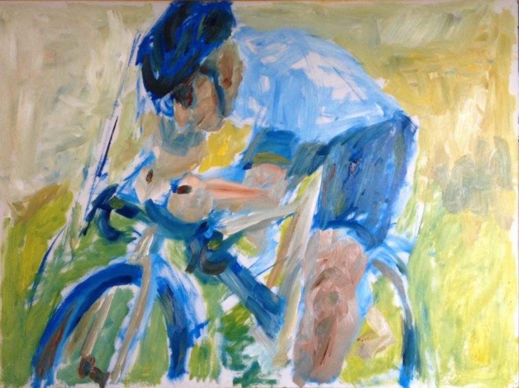 Biker in the green village, oop, 50 x 70 cm, 2019